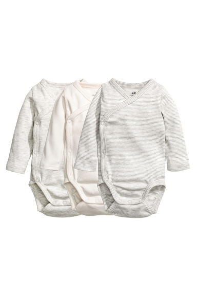 3-pack wrapover bodysuits - Grey/White striped -  | H&M CN