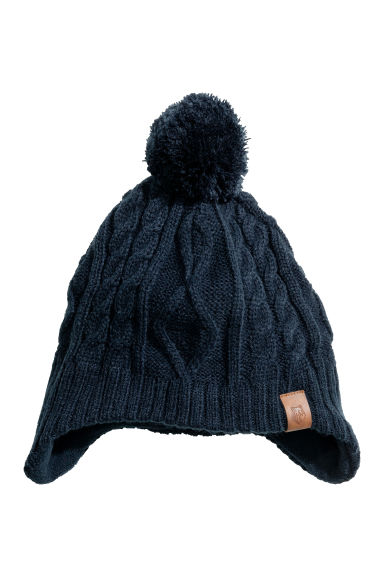 Fleece-lined hat with earflaps - Dark blue -  | H&M CN