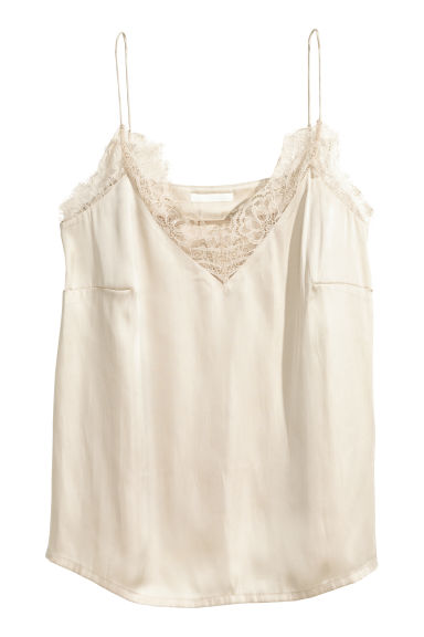 Satin top - Light beige -  | H&M