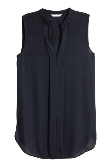 V-neck blouse - Dark blue -  | H&M