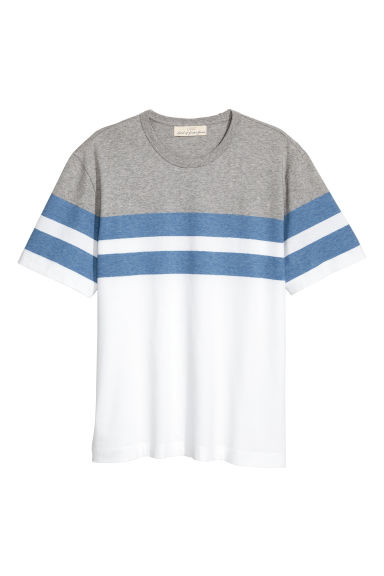 Block-patterned T-shirt - White/Grey -  | H&M