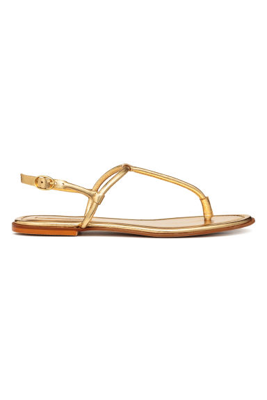 Leather sandals - Gold - Ladies | H&M IE