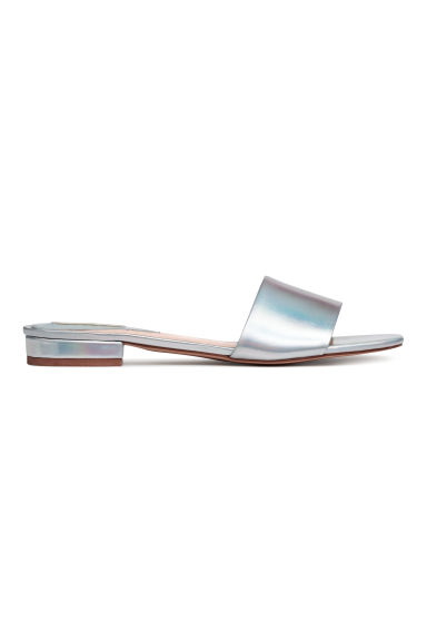 Mules - Silver-coloured/Leather - Ladies | H&M CN