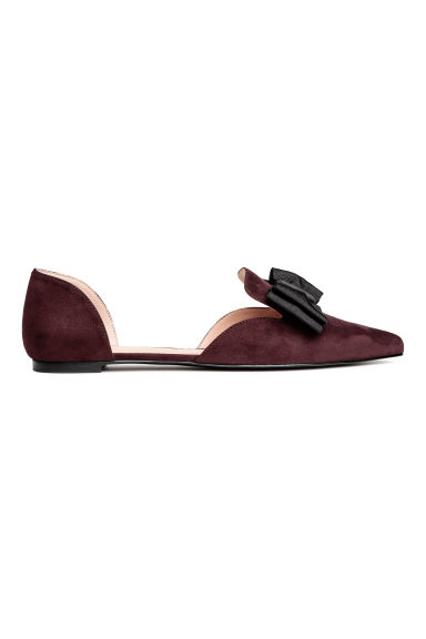 Pointed flats with a bow - Plum - Ladies | H&M CN