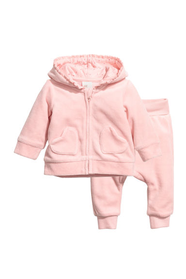 Velour jacket and trousers - Light pink - Kids | H&M CN