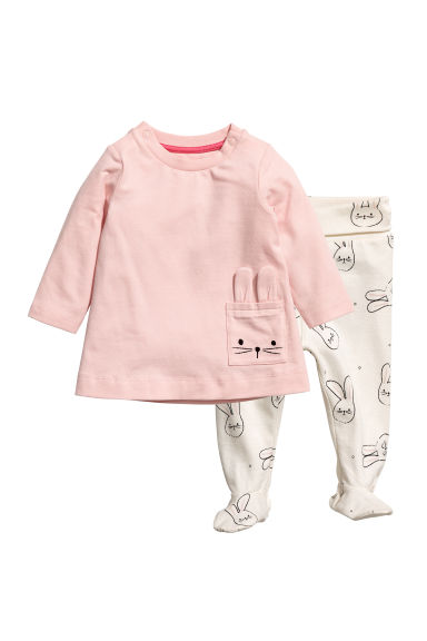 Dress and trousers - Light pink/Rabbit - Kids | H&M CN