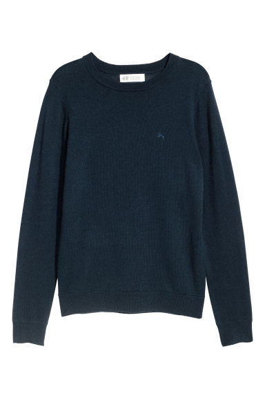 Fine-knit merino wool jumper - Dark blue - Kids | H&M