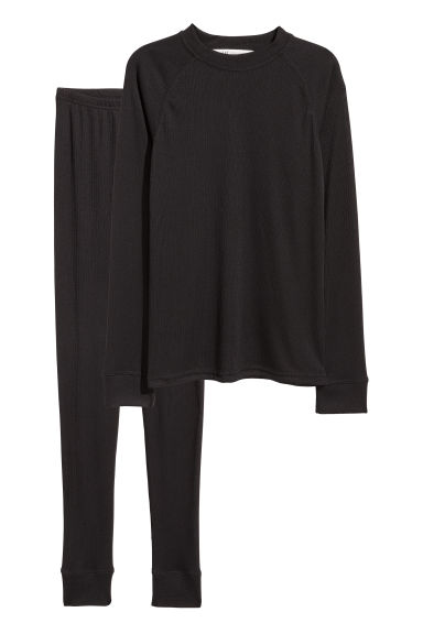 Ribbed jersey base layer set - Black -  | H&M CN