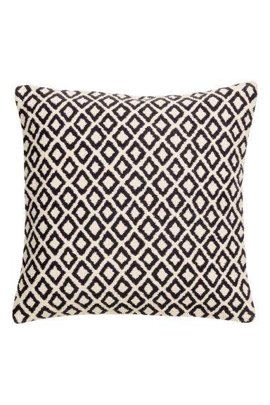 Jacquard-weave Cushion Cover - Natural white/charcoal gray - Home All | H&M CA