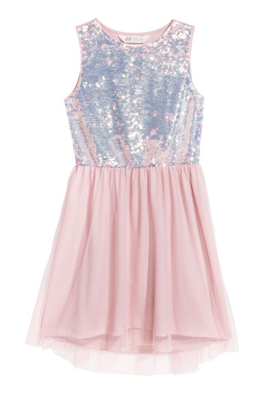 Sequin-embroidered dress - Light pink -  | H&M