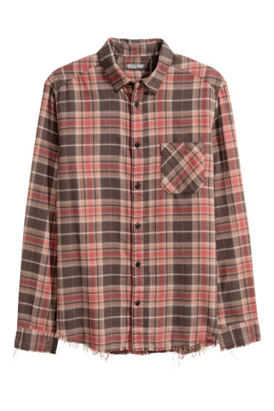 Checked flannel shirt - Red/Grey checked - Men | H&M CN