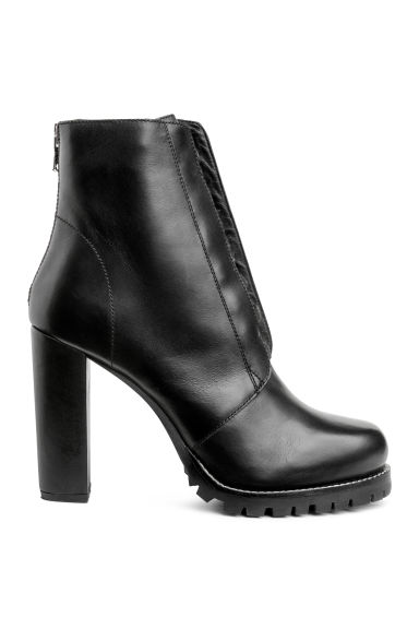 Leather ankle boots - Black - Ladies | H&M CN