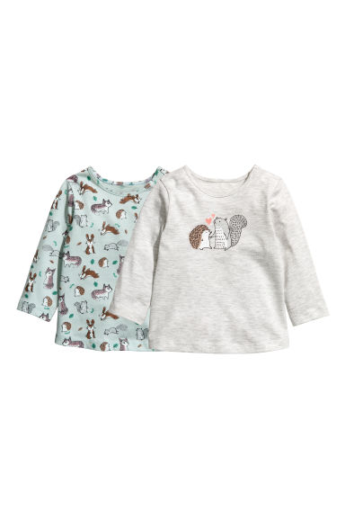 2-pack long-sleeved tops - Light turquoise/Animals -  | H&M CN