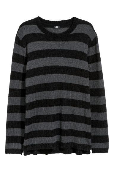 Knitted jumper - Dark grey/Black striped -  | H&M