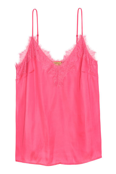 Satin strappy top with lace - Rosa -  | H&M PT
