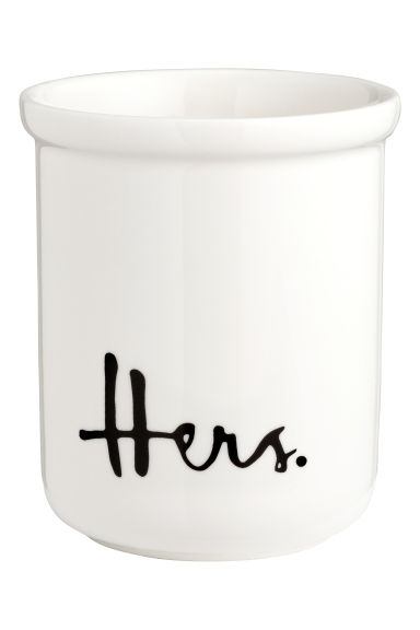 Porcelain toothbrush mug - White/Hers - Home All | H&M GB