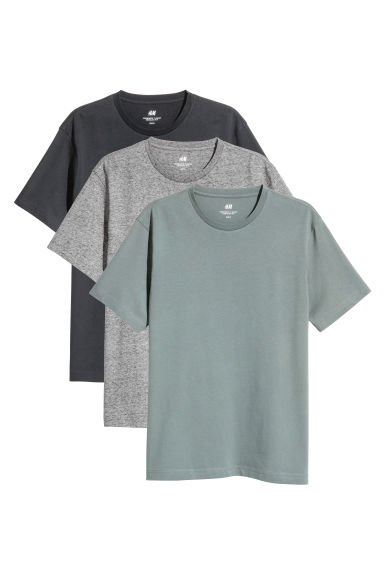 T-shirts Regular Fit, lot de 3 - Gris foncé/gris chiné/vert - HOMME | H&M BE