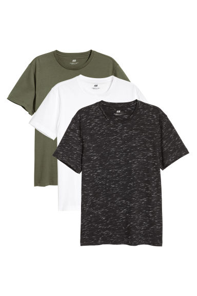 3-pack T-shirts Regular fit - Black marl/Khaki green/White -  | H&M CN