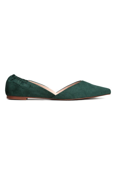 Pointed flats - Dark green -  | H&M