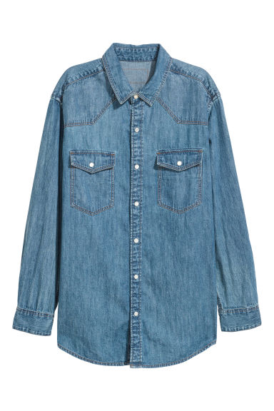 Oversized denim blouse - Donker denimblauw - DAMES | H&M NL