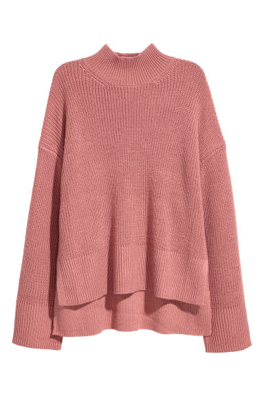 Knitted wool-blend jumper - Dark powder pink - Ladies | H&M CN