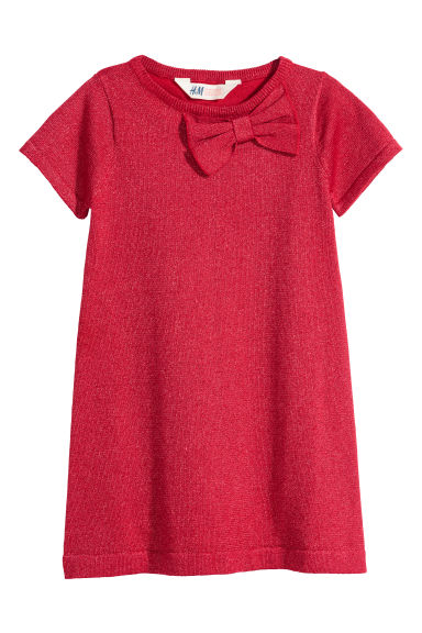 Robe en maille fine - Rouge/scintillant -  | H&M BE