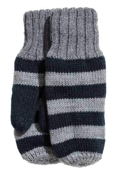 Fleece-lined mittens - Grey/Blue striped - Kids | H&M CN