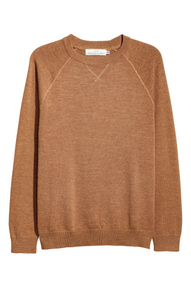 Fine-knit cotton jumper - Ochre -  | H&M CN