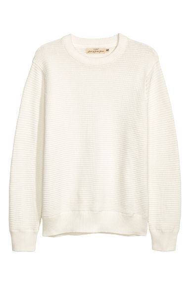 Rib-knit cotton jumper - White -  | H&M