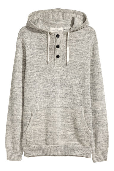 Hooded fine-knit cotton jumper - Grey marl -  | H&M GB