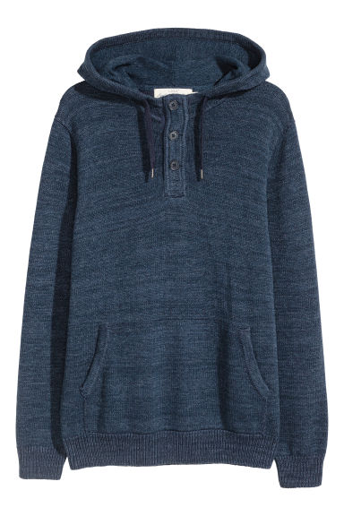 Fine-knit cotton hooded jumper - Blue marl -  | H&M CN
