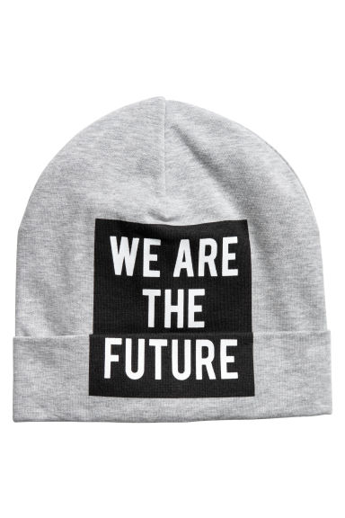 Printed jersey hat - Grey marl - Kids | H&M