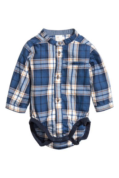 Shirt bodysuit - Blue/Checked -  | H&M IE
