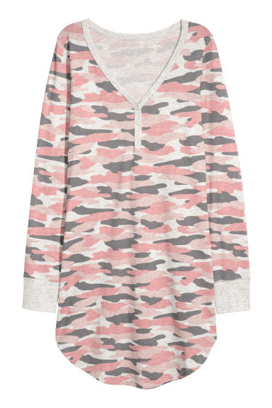 Jersey nightdress - Pink/Grey patterned - Ladies | H&M GB