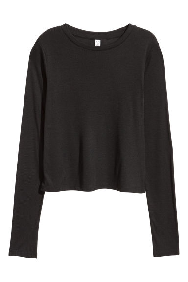Ribbed jersey top - Black -  | H&M
