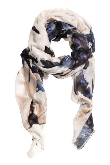 Airy scarf - Light beige/Floral - Ladies | H&M GB