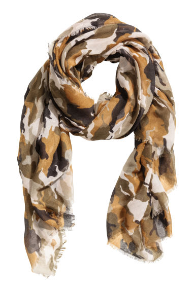 Airy scarf - Khaki green/Patterned - Ladies | H&M CN