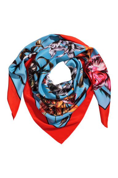 Woven scarf - Bright red/Floral -  | H&M