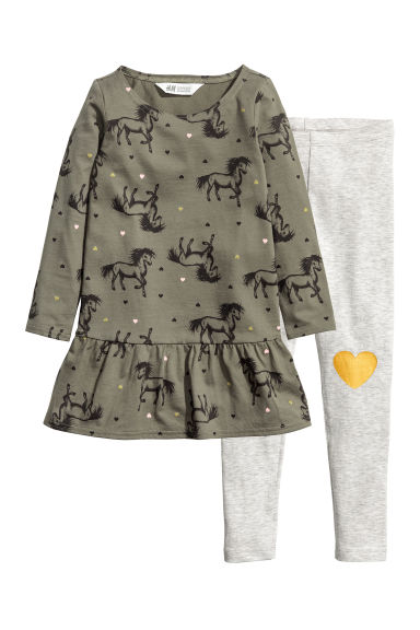 Dress and leggings - Dark khaki green/Horses - Kids | H&M CN