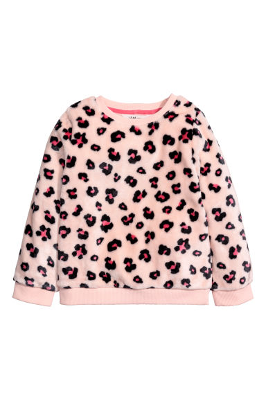 Fleece sweatshirt - Light pink/Leopard print -  | H&M CN