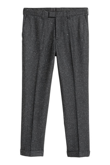 Nepped suit trousers Slim fit - Dark grey/Nepped - Men | H&M CN