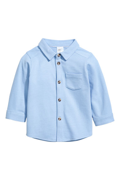 Cotton piqué shirt - Light blue -  | H&M CN