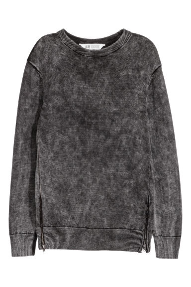 Cotton jumper with zips - Black -  | H&M GB