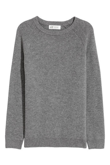 Textured-knit cotton jumper - Dark grey -  | H&M CN