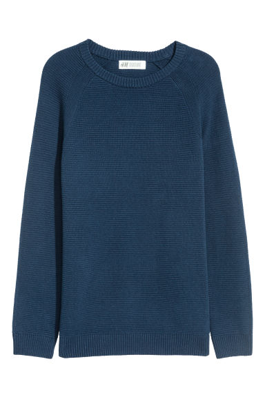 Textured-knit cotton jumper - Dark blue - Kids | H&M IE