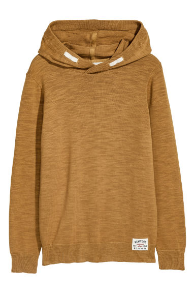 Knitted hooded jumper - Dark yellow -  | H&M CN