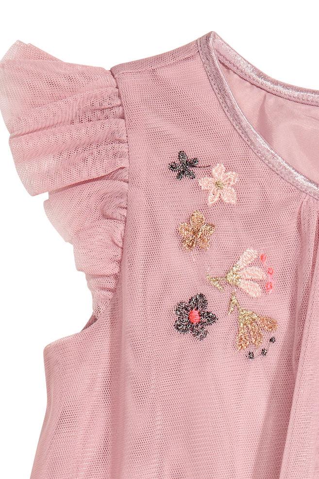 0f73d647 Tyllkjole med broderier - Gammelrosa - BARN | H&M ...