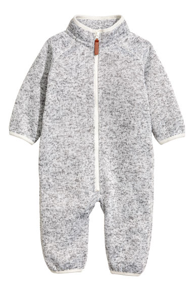 Fleece all-in-one suit - Light grey marl -  | H&M CN