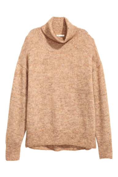 Mohair-blend polo-neck jumper - Beige marl - Ladies | H&M CN