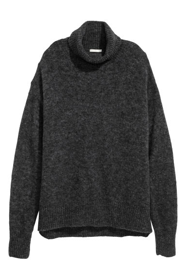 Mohair-blend polo-neck jumper - Dark grey - Ladies | H&M CN